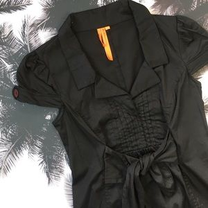 BCBG Black Cotton Short Cap Sleeve Dress With Tie